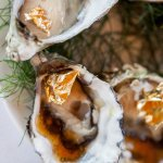 Tasmanian oysters with gold leaf