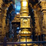 Gold Holy Pole inside the Meenakshi Temple....