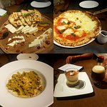 Our second dinner. Cheese platter, pizza, fettuccine with shrimp and mushroom and tiramisu for d