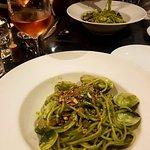 Spaghetti al pesto with clams.