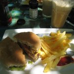 Zambian burger made with chicken and iced coffee