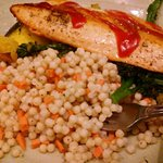 Pan Seared Steelhead Trout, served with cous cous, broccolini and roasted squash.