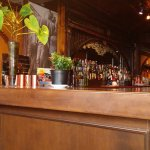 A closer look at the bar and the interesting chain decoration seen throughout the restauant