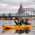 kayaking in Riga - Central Market and Railway Bridge