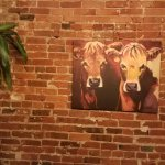 Sorry cannot resist a cow painting! The exposed brick just part of the decor.