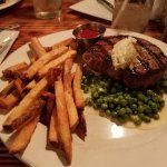 My beautiful rare sirloin, served on an ocean of fresh peas and the best fresh cut french fries