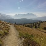 Oberlin Bend (straight ahead) and Granite Park - Swiftcurrent Pass Trail