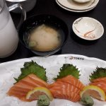 Calpico, Miso Soup & 3 portions of Salmon sashimi