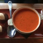 The delicious tomato soup and the pretzel biscuits!!