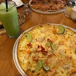 """Seafood Pizza that includes Patagonia's signature ingredient """"centolla"""" (king crab)"""