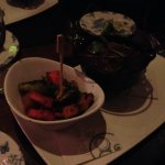 Black kettle is the Guiness beef stew, white bowl is grilled veggies!