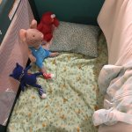 Toddler's bed made up by housekeeping :)