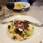 Marinated Lamb Caesar salad and chicken and mushroom linguine