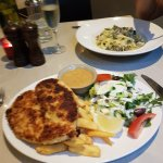 Schnitzel and chicken pesto pasta
