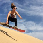 Sand boarding in Merzouga dunes