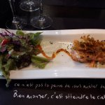Tartare de l'océan (Entrée Menu Azénor): Saumon frais et haddock, oignons frits...