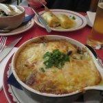 Moussaka, Greek salad, Kessaria filo pies