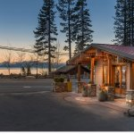 Hotel entrance overlooking Lake Tahoe - evening