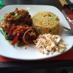 Lamb with rice and salad side