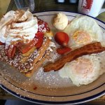 Stuffed French Toast, eggs, bacon
