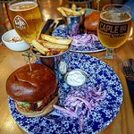 chicken burger and a pint of cider