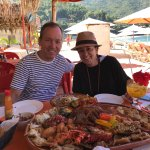 "A great afternoon on the beach.  Recommend the seafood platter for ""four"" which will easily feed"