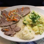 Beef with horseradish and potatoes.