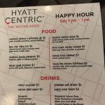 Happy Hour everyday!! Go when Yelba plays.Check online. Great drinks, appetizers and SERVICE. Th