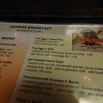 Menu with $2.99 breakfast choice