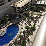 Looking down to pool and grill area, from floor 1241.