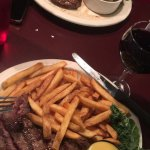 Sirloin steak with a glass of red
