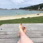 Fabulous setting at the end of the beach at Scorching Bay.   Had a small fish & chips with salad