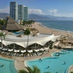 Beautiful views from the upper lounge/bar area above the pool at the Hilton Puerto Vallarta!