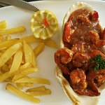 Ginger prawns with fries