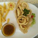 Deep-fried calamari with fries