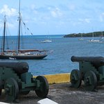 View of the cannons pointing toward the harbour