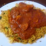Chicken Tikka Madras with chilli pilau rice.