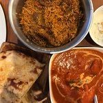 Lamb briyani, naan, butter chicken