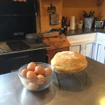 Farm kitchen with homemade bread.