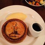 Lovely chicken and leek short-crust pie, mash, veg and gravy.