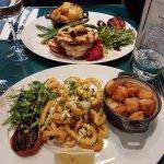 Calamari main and Buttermilk Chicken Burger