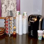We have a Keurig machine in our lobby with a large variety of complimentary drink choices.