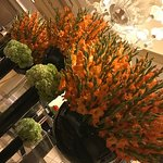 Gorgeous floral arrangements in the lobby