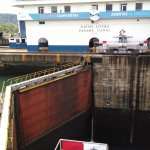 Vessel just leaving one of Gatun's locks