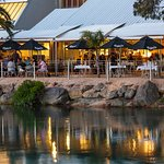 Outdoor dining at high tide on a beautiful Nelson summer evening