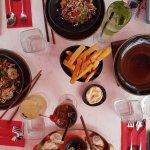 Beef and Coriander dumplings, Kale & Prawn salad, Salay Chicken salad + fries and aioli