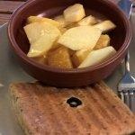 Mushroom Melt on homemade olive bread with a fruit salad