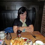 Susie, anxious to try her Fish 'N Chips