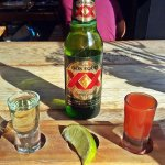 Mexican beer, tequila and bloody Mary shots