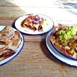 Beef quesadillas, chicken enchiladas and nachos